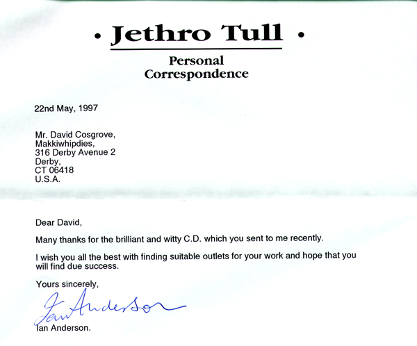 Letter from Ian Anderson of Jethro Tull